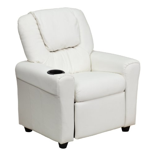 Exceptionnel Flash Furniture Contemporary White Vinyl Kids Recliner With Cup Holder And  Headrest