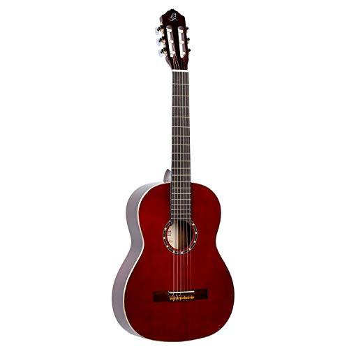 Ortega Guitars Gitarre R121WR Family Serie Nylon Gitarre mit Fichtendecke und Mahagoni Korpus, Weinrot, hochglanz Finish