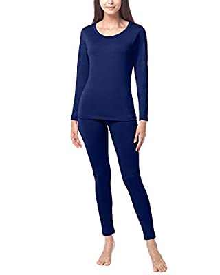 LAPASA Women's Lightweight Thermal Underwear Long John Set Fleece Lined Base Layer Top and Bottom L17 (XX-Large, Navy)
