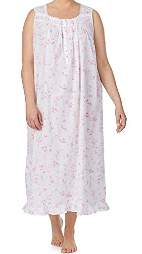 Eileen West Ballet Nightgown Pink Floral/White Ground Cotton Lawn, Plus 3X