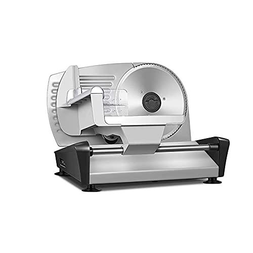 HENGSEN Brotschneidemaschine,Elektrisch Wurstschneidemaschine Mit 19Cm Edelstahlklingen Verstellbare Küchenmaschine 0 Bis 15Mm Für Fleisch Brot Obst Wurst 150 W,Silber