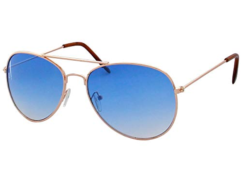 70er 80er Jahre Retro Alsino® Sonnenbrille Pornobrille Pilotenbrille Sonnenbrillen V-705 (blau/gold)