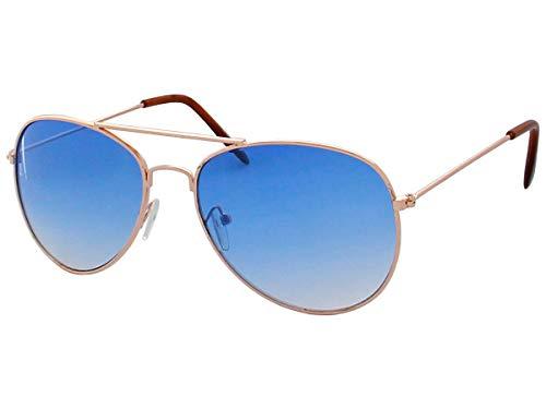 Alsino 70er 80er Jahre Retro Alsino® Sonnenbrille Pornobrille Pilotenbrille Sonnenbrillen V-705 (blau/gold)