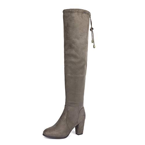 DREAM PAIRS Highleg Women's Thigh High Fashion Over The Knee Drawstring Strech Block Mid Heel Boots Khaki-SZ-8.5