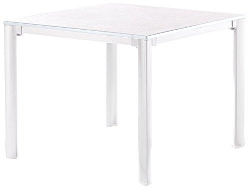 Sieger 1740-40 KT Exclusiv-Tisch mit Puroplan-Platte, 95 x 95 cm, Gestell Aluminium und Tischplatte Marmordekor, weiß