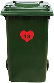 Kliko Sticker/Vuilnisbak Sticker - Hart - Nummer 13-18,5x16,5 - Rood
