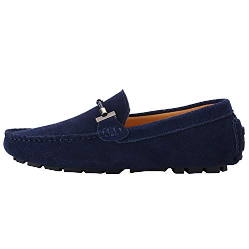 Jamron Mens Elegant Buckle Loafers Comfort Suede Driving Shoes Stylish Moccasin Slippers Navy SN19020 US11