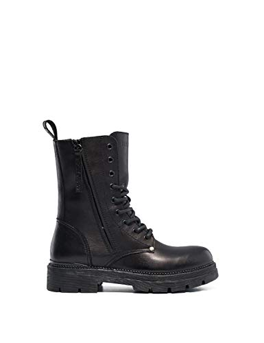 Replay Women's Standing Lace Up Leather Μποτακια Γυναικεια Μαυρα Black in Size 37