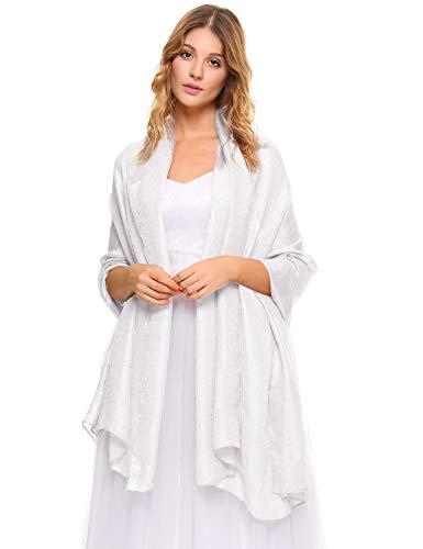 Abollria Copricostumi da Bagno Donna Estivo, Women Soft Lightweight Shrug Scarf Elegant Wrap Shawl Beach Cover-up, bianca