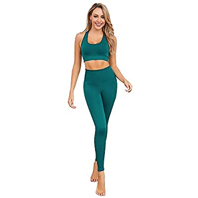 bbmee 2 Piece Sports Outfits for Women Seamless Yoga Pants and Tops Sets Tracksuit Womens Workout Suit Sports Outfit