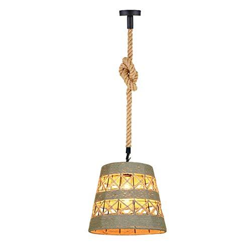 Lámpara de techo colgante de hierro forjado americano Manila cuerda de cáñamo tejida isla araña interior Nostalgia decoración hecha a mano retro casa de campo E27 lámpara colgante (tipo 4)