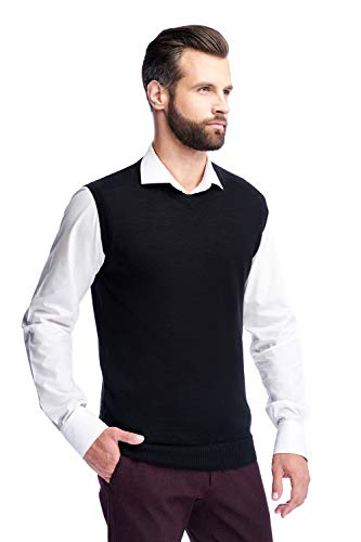Men's Merino Wool V Neck Sweater Vest Classic Short Sleeve Casual Pullover Knitted (Black, X-Large)