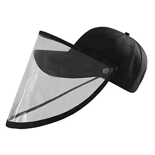 Domybest Sombrero de protección anticragatos, gorra de béisbol, gorra de pescador, antivaho, antipolvo, sombrero con protección facial extraíble, visera transparente unisex