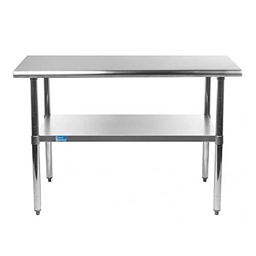 "18"" x 48"" Stainless Steel Work Table | AmGood Metal Kitchen Food Prep Table NSF"