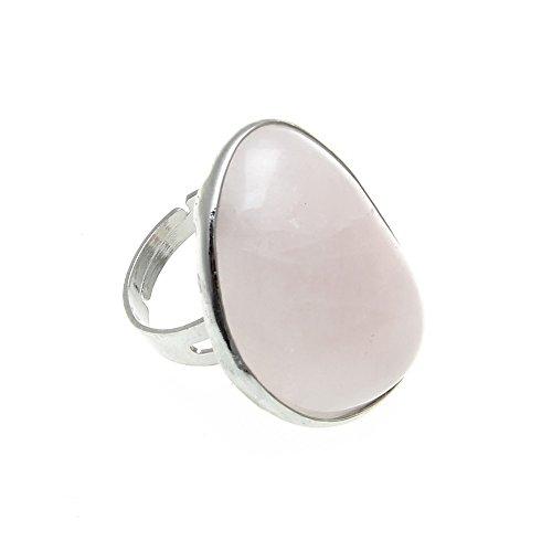 skyllc® Hermoso Anillo de Dedo en Forma de corazón de Cuarzo Rosa de la Piedra Preciosa Ajustable
