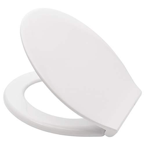 LUVETT® PREMIUM WC-SITZ C150 oval XXL mit EasyFix® Steckscharnier (Befestigung von oben), hygienisch & beständig: Urea Duroplast Toilettendeckel, rostfreier Edelstahl, Farbe:Weiß