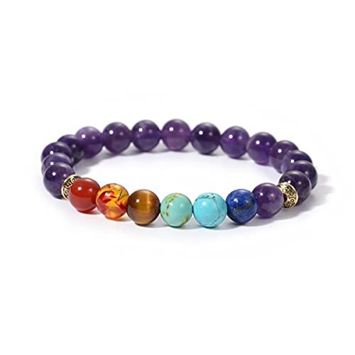 Purple Amethyst 7.5 inch yoga meditation bead bracelet 7 Chakra Bracelet healing wish bracelet in Silver Box