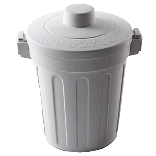 Oinna Cubo de basura de escritorio para coche, giratorio, mini cubo con tapa, para el hogar, limpio, color gris claro