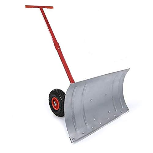 Great Deal! Snow Shovel Heavy Duty Rolling Snow Plow Shovel Pusher Manual Snow Truck with Extension ...