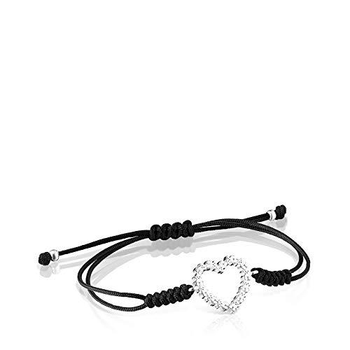 TOUS Pulsera San Valentín corazón de Plata y Cordón Negro