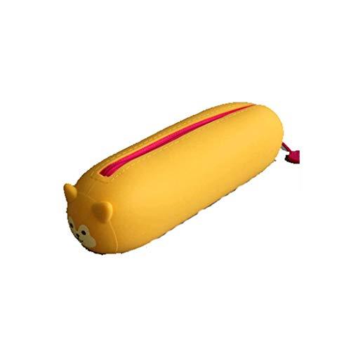BABYCOW Schreibwaren Einfache Federmäppchen Große Kapazität Cartoon Silikon Federmäppchen für Schulbedarf Büro College-Studenten Tragbare Schreibwaren Bleistiftbox Spender (Farbe: Gelb)