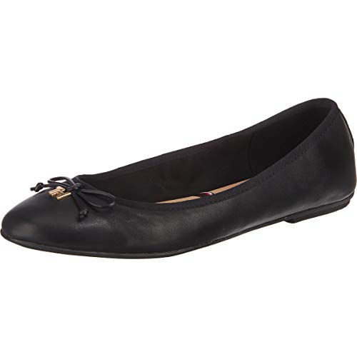 Tommy Hilfiger Damen Feminine Leather Knot Ballerina Pumps, Schwarz (Black Bds), 38 EU