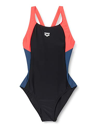 ARENA Damen Sport Badeanzug Ren, Black-Fluo red-Shark, 46