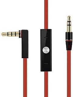 OKCS AUX Audio stereo Hi-Fi-kabel förlängningskabel anslutningskabel kompatibel för Monster Beats av Dr. Dre – röd