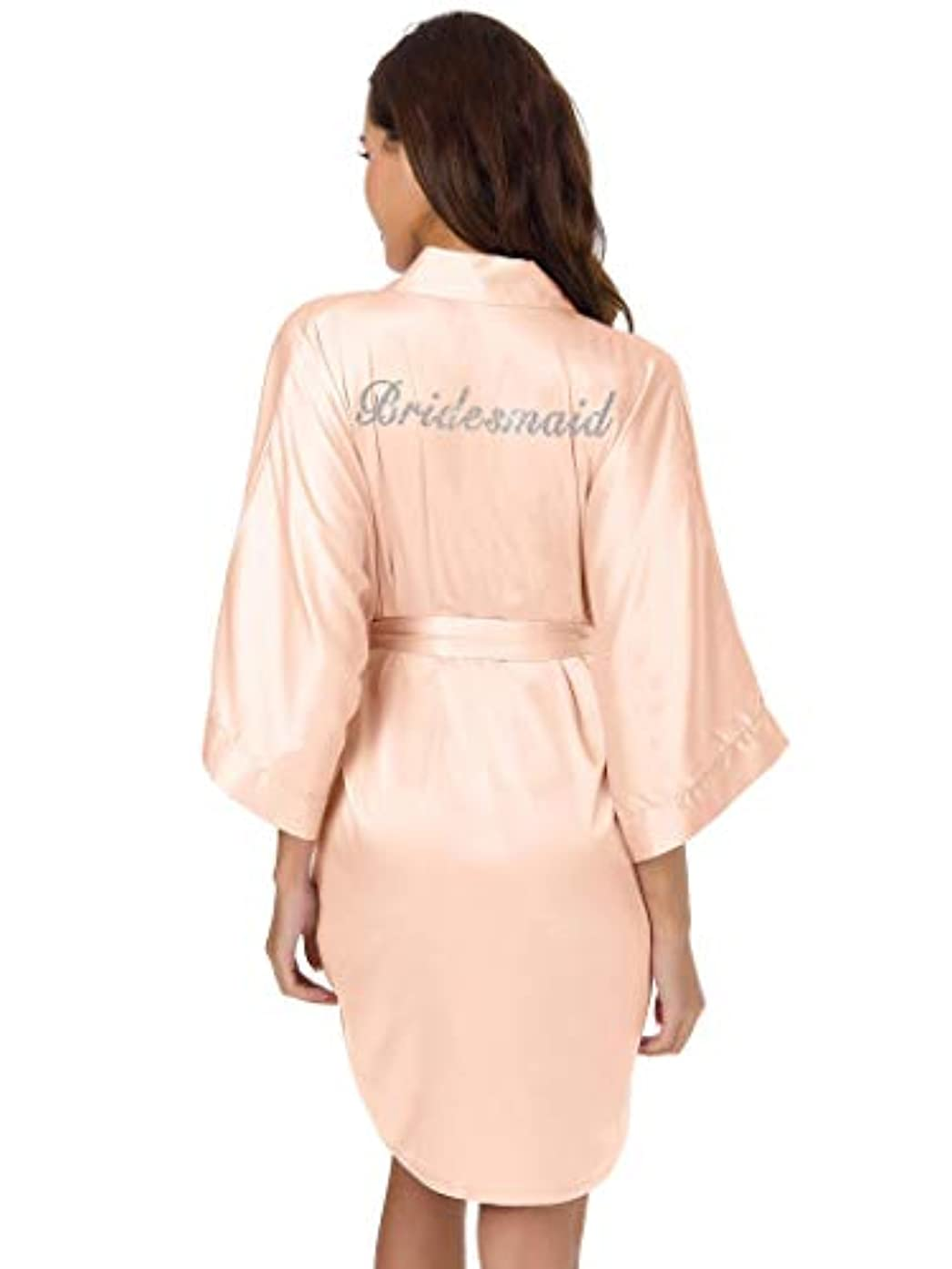 SIORO Personalized Bride Bridesmaid Robes,Womens Satin Bathrobe for Wedding Party