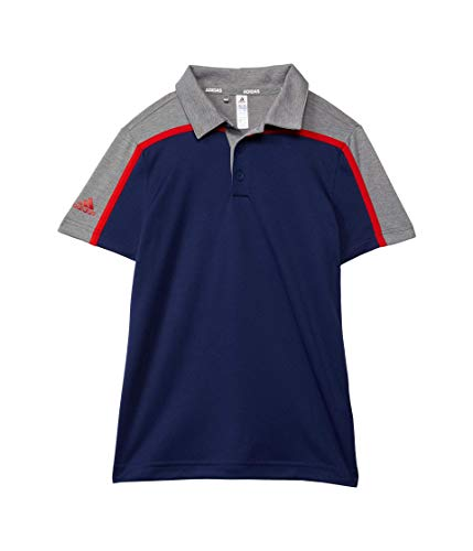 adidas Golf Heathered Colorblock Polo Shirt, Grey Three Melange, Medium