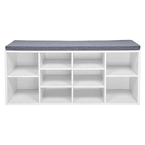 Meerveil Schuhbank, Schuhschrank mit Sitzkissen aus E1 Holzspanplatte Flur Diele Schuhregal 104 x 45 x 30 cm (Weiß)
