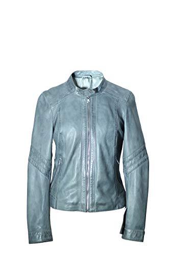 Damen Bomberjacke aus Schafleder mit Reißverschluss Gr. XX-Large, himmelblau