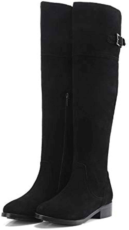 HOESCZS 2019 Quadratische Ferse Mode Damen Schuhe Platofrm Echte Runde Kappe Alle Spiel Winterstiefel Alle Spiel Stiefel Groe Gre 34-40