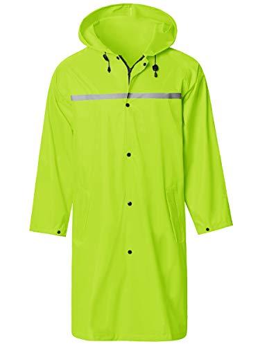 Mens Long Hooded Safety Rain Jacket Waterproof Emergency Raincoat Poncho Green Large