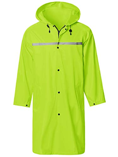 Mens Long Hooded Safety Rain Jacket Waterproof Emergency Raincoat Poncho Green Medium