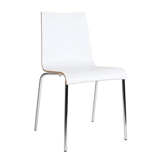 pemora Stuhl Stapelstuhl Metall Bistrostuhl Kantinenstuhl Wartezimmerstuhl Roman HPL weiß
