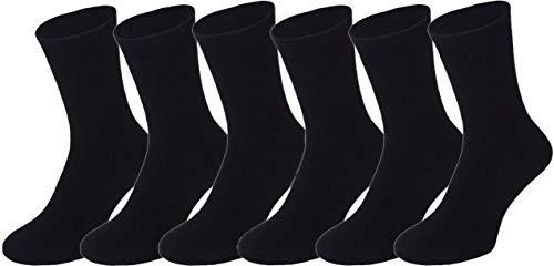 BestSale247 6 Paar Damen & Herren Thermo Socken Baumwolle Vollfrottee Wintersocken in Schwarz (6 Paar/Schwarz, 39-42)