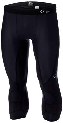 [シースリーフィット] スポーツタイツ インパクトエアー3/4タイツ コンプレッションタイツ メンズ スパッツ 段階着圧 軽量 通気性 UVカット ブラック L