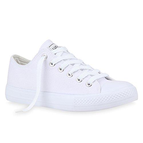 stiefelparadies Damen Sneakers Sportschuhe Schnürer Schuhe 112589 Weiss Weiss Ambler 42 Flandell