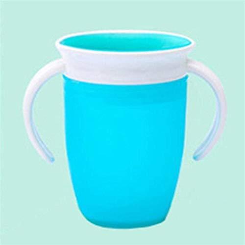 360 grados a prueba de fugas a prueba de fugas Niños de alimentación de agua Botella de alimentación Bebé rotado Aprendiendo Taza de plástico para beber con mango doble (Color : Azul)