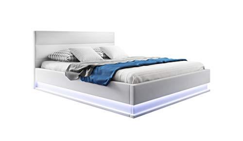muebles bonitos Cama canapé abatible de Matrimonio Moderna Nitas con somier de láminas para colchón de 160x200cm Blanco diseño Italiano con LED Blanco Azulado