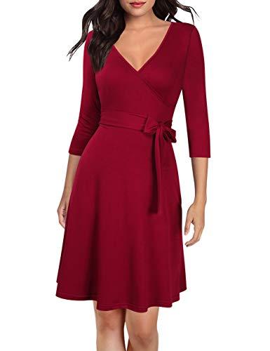 KOJOOIN Damen Kleid Businesskleid Knielang Wickelkleid, 3/4 Arm mit V-Ausschnitt und Gürtel, Weinrot, M