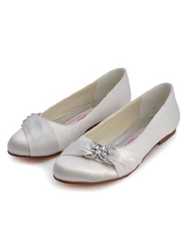 Bequeme flache Brautschuhe Ballerinas | Ivory - 3