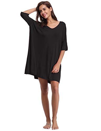 Abollria Damen Nachthemd Loose Fit Nachtwäsche Nachtkleid Kurz Baumwolle Schlafshirt O-Ausschnitt Rock Schlanke Nachtwäsche Sleepshirt Kurzarm für Sommer, Shwarz, XL