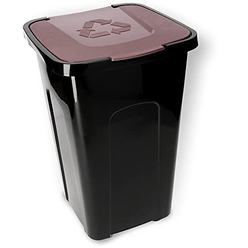 KADAX Voluminöser Eimer, 50L, rechteckiger Mülleimer aus Kunststoff-Polyurethan, Abfalleimer für Trennen von Glas, Plastik, Bioresten (Braun)