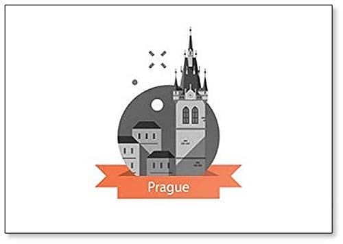 Imán para nevera con diseño de símbolo de Praga, casco antiguo, torre con reloj, ilustración de la República Checa