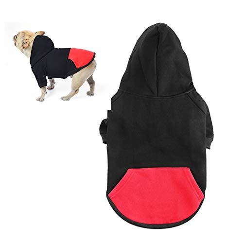 meioro Dog Clothes Hoodies Pet Cat Warm Soft Cotton Zipper Sweater Coat French Bulldog Pug (L, Black)