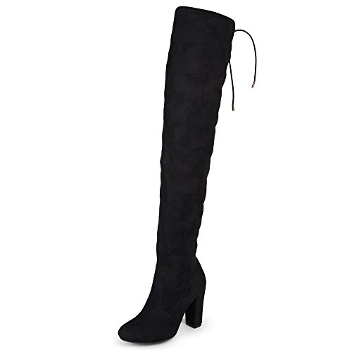 Journee Collection Womens Regular and Wide-Calf Faux Suede Over-The-Knee Boots Black, 7.5 Wide Calf US