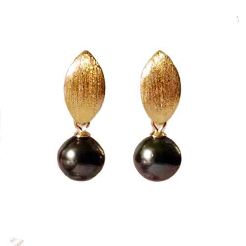 Tahitiperlen Ohrringe gold grün schwarz hängend Ohrstecker mit Perlen