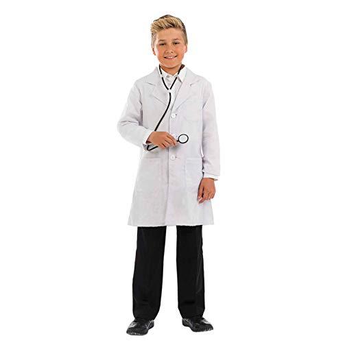 Fun Shack Disfraz de médico para niños. Traje con Bata Blanca y Estetoscopio para niños, Talla M